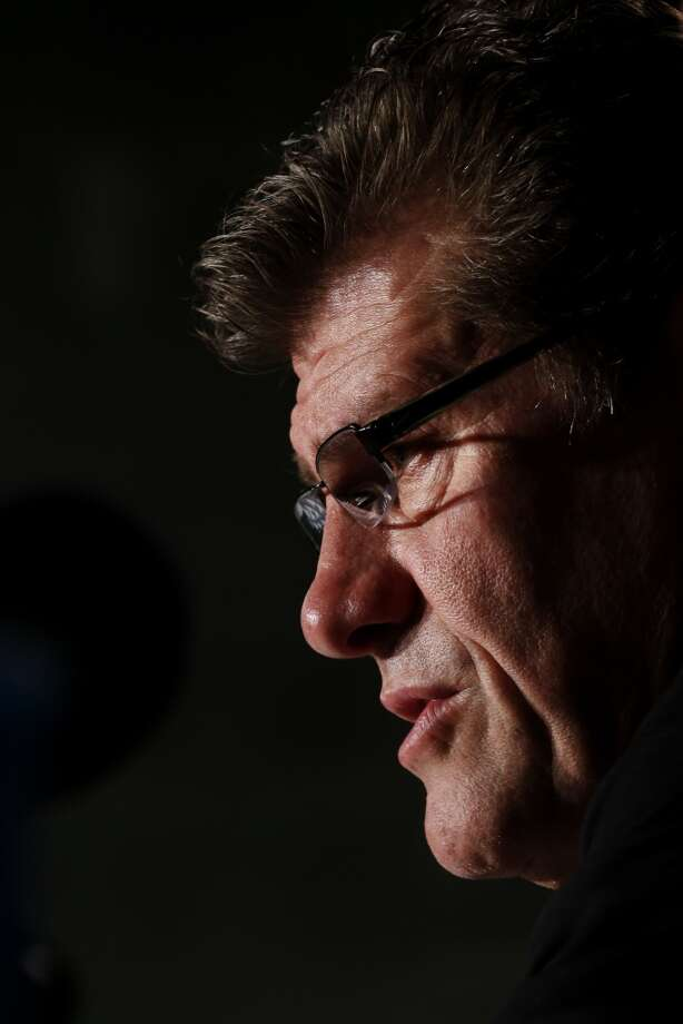 Connecticut head coach Geno Auriemma talks during a news conference for the women\'s NCAA Final Four college basketball tournament final, Monday, April 8, 2013, in New Orleans. UConn plays Louisville in the championship game on Tuesday.