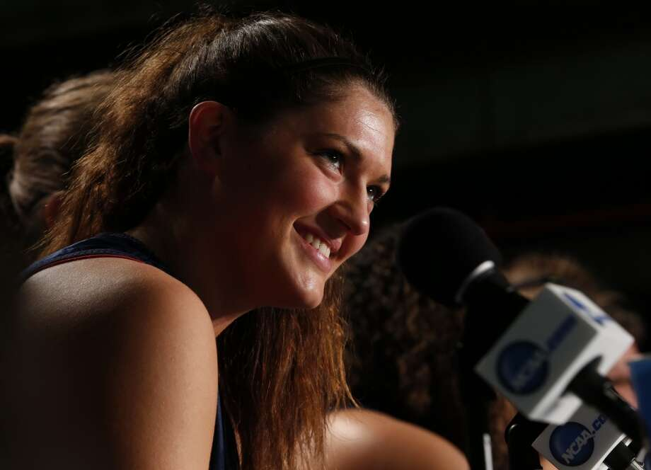 Connecticut center Stefanie Dolson smiles during a news conference for the women\'s NCAA Final Four college basketball tournament final, Monday, April 8, 2013, in New Orleans. UConn plays Louisville in the championship game on Tuesday.