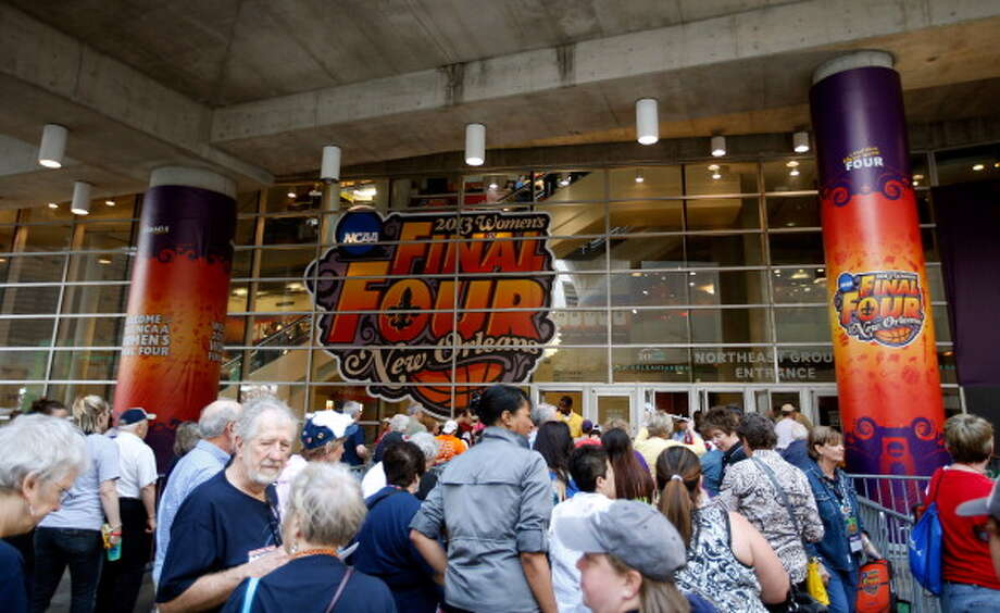A general view outside New Orleans Arena prior to the 2013 NCAA Women\'s Final Four Championship between the Connecticut Huskies and the Louisville Cardinals on April 9, 2013 in New Orleans, Louisiana. Photo: Chris Graythen, Getty Images / 2013 Getty Images