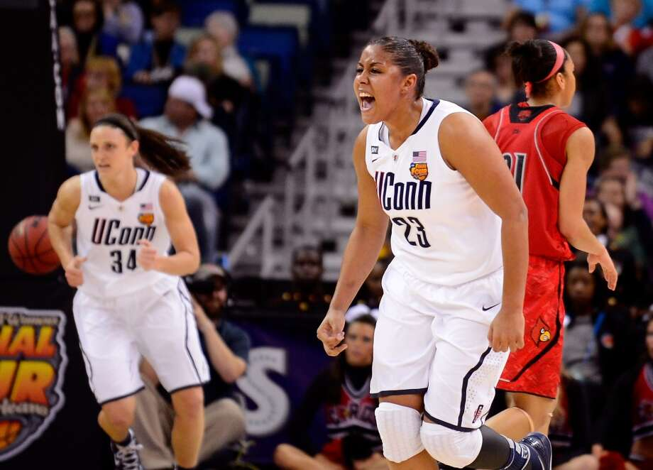Kaleena Mosqueda-Lewis #23 of the Connecticut Huskies celebrates after a play in the first half against the Louisville Cardinals during the 2013 NCAA Women\'s Final Four Championship at New Orleans Arena on April 9, 2013 in New Orleans, Louisiana.