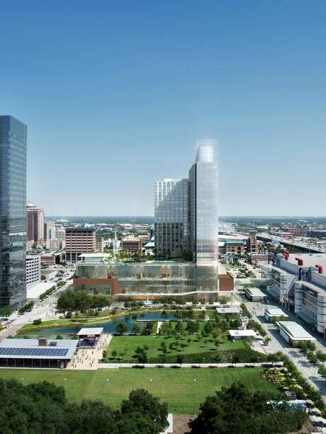 This rendering shows what the downtown Marriott Marquis will look like, as viewed from the Hilton Americas-Houston. The 1,000-room Marriott is expected to be completed in 2016. Photo: Courtesy Rendering