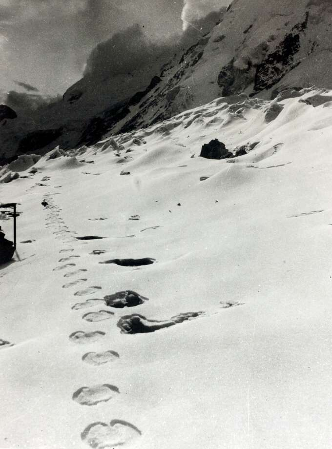 This image, circa 1961, of monster-like footprints came from an expedition to Mount Everest. Photo: Popperfoto/Getty Images