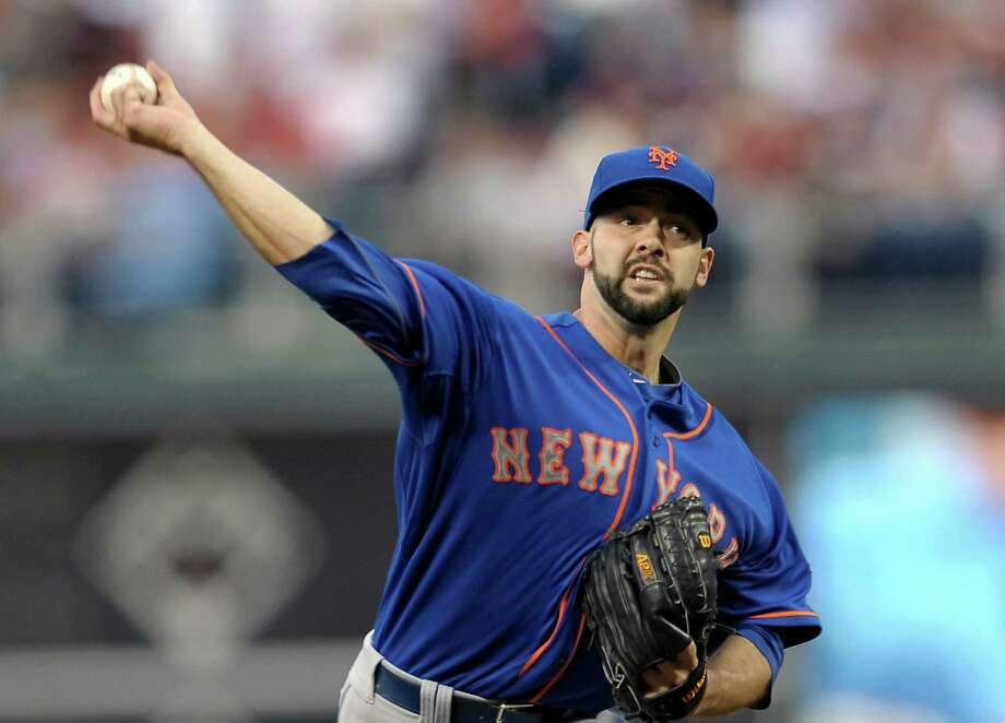 New York Mets' Dillon Gee (35) throws a pitch in the first inning of a baseball game against the Philadelphia Phillies, Tuesday, April 9, 2013, in Philadelphia. (AP Photo/Michael Perez) Photo: Michael Perez