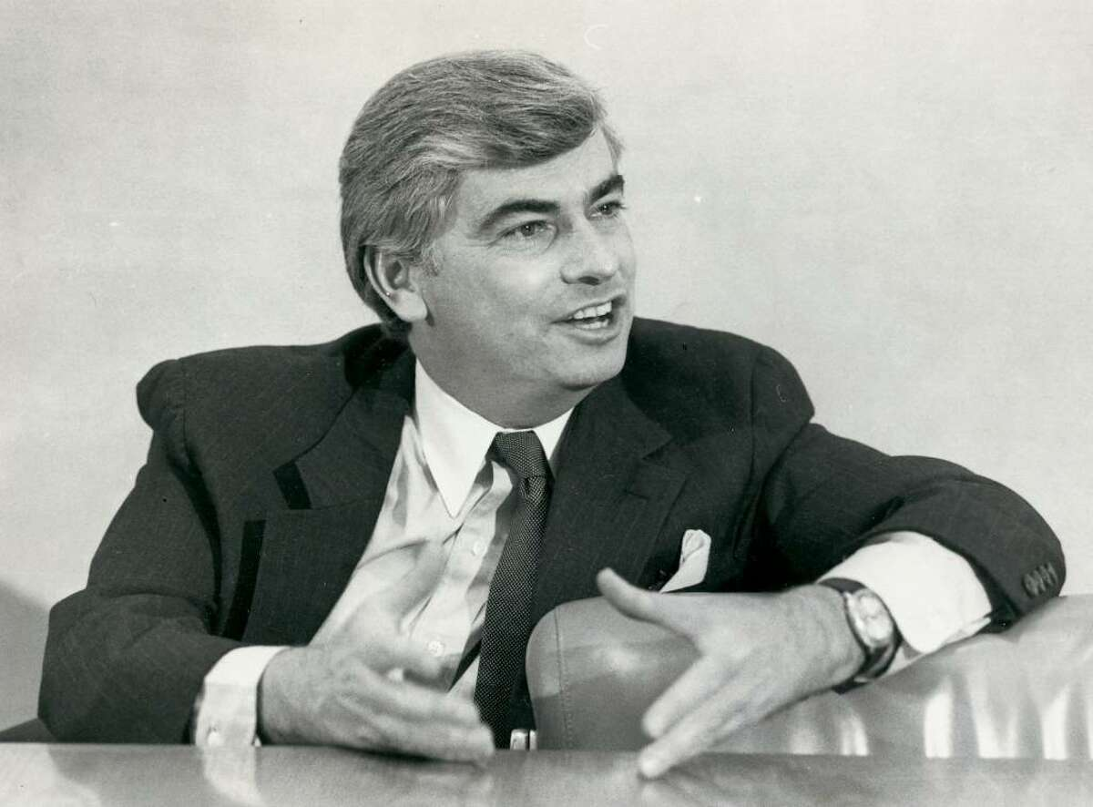 Senator Dodd at an interview with the Advocate editors. Staff file photo. Ran on: 6/3/84.