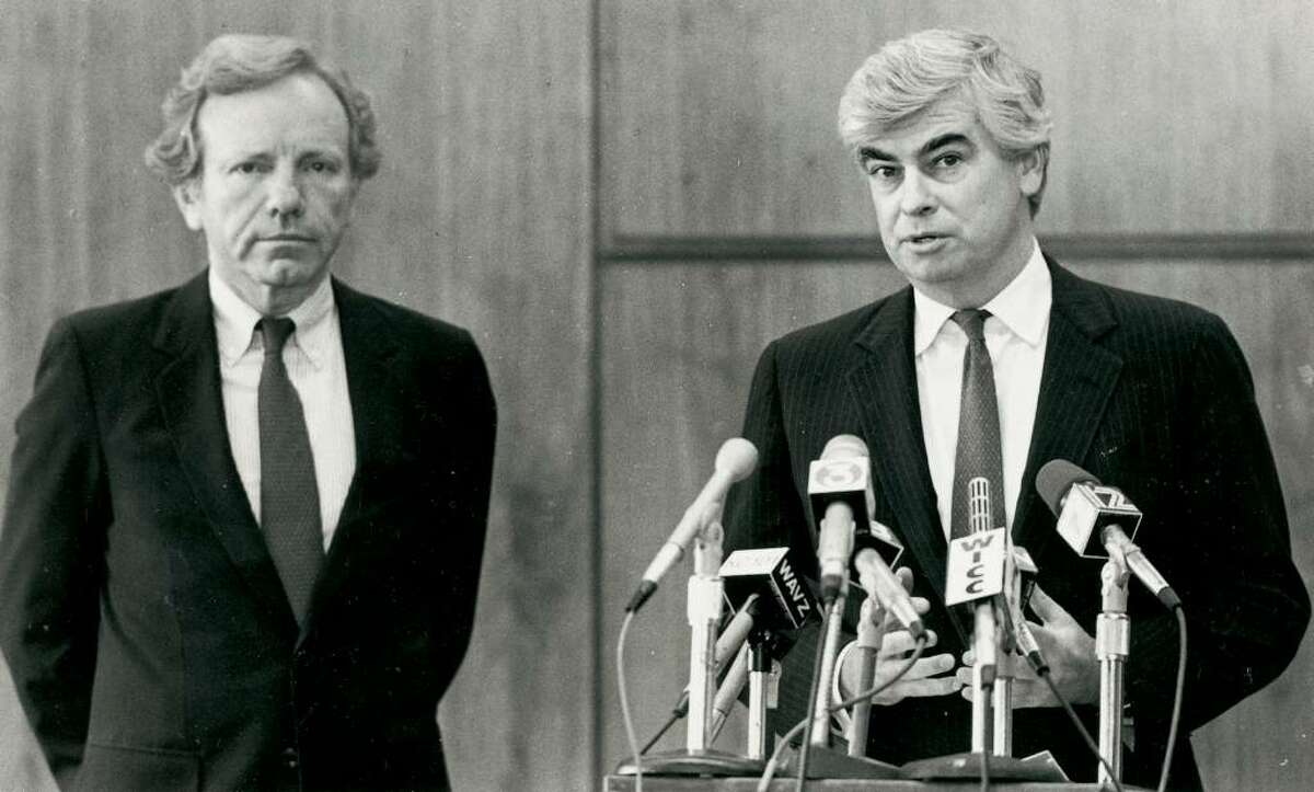 U.S. Senators Joe Lieberman and Chris Dodd at L'ambiance press conference in Bridgeport. Staff file photo taken on 4/24/89.