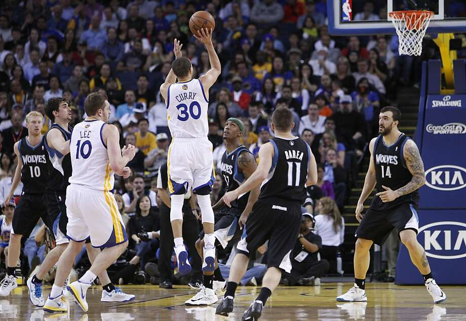 Stephen Curry puts up a three point shot in the second half. The Golden State Warriors played the Minnesota Timberwolves at Oracle Arena in Oakland, Calif., on Tuesday, April 9, 2013, winning the game 105-89 and clinching a playoff berth for the first time since 2007. Photo: Carlos Avila Gonzalez, The Chronicle