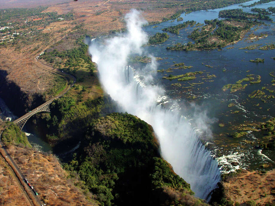 The Zambezi River pours into Victoria Falls, part of the year-old Kavango Zambezi Transfrontier Conservation Area.