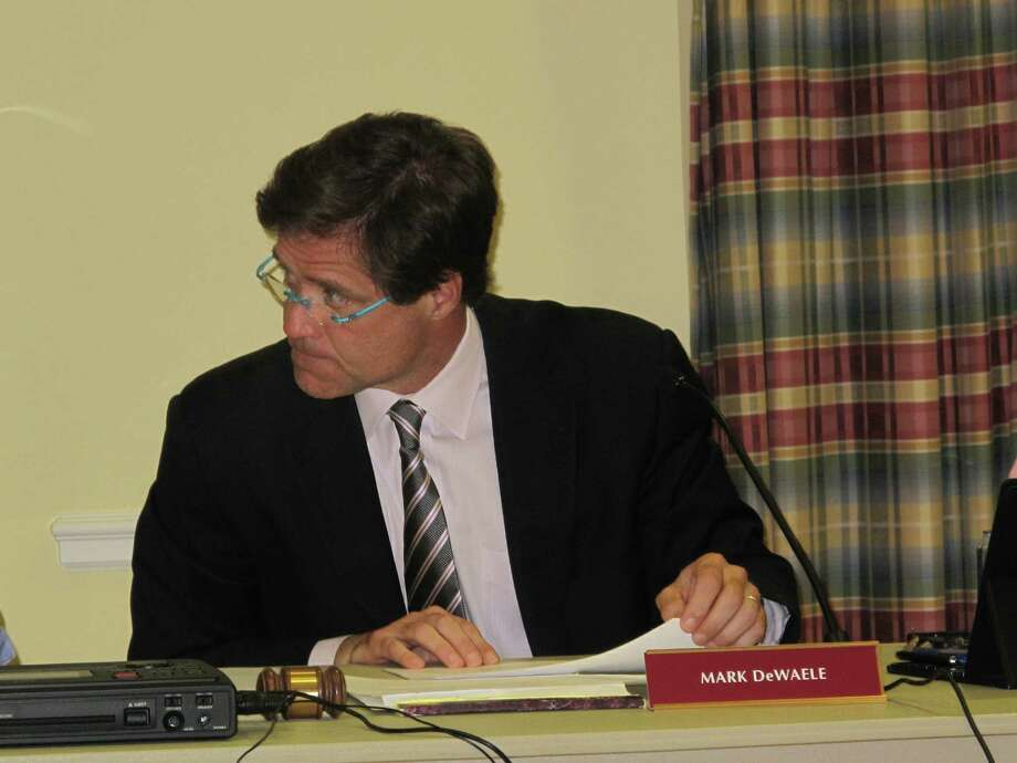 New Canaan Town Council Chairman Mark DeWaele leads the budget call Tuesday night, April 9, 2013 at the Lapham Center. The total budget is $132,040,711, which means 3.72 percent more than last year will be raised by taxation. Photo: Tyler Woods