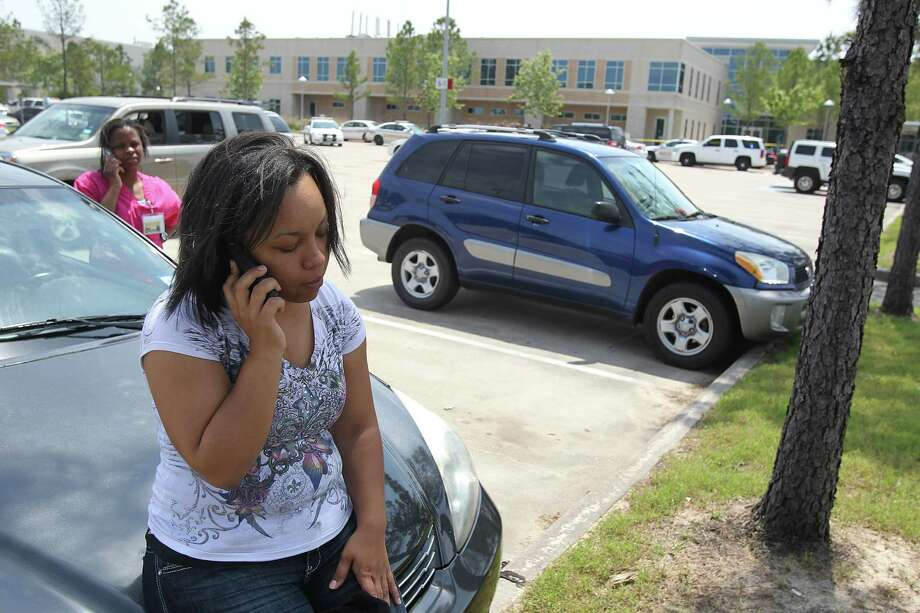 """I am shocked someone would do this to innocent students"" says Jessica Moffett, a nursing student who rendered aid to injured students she encountered after exiting the restroom inside the Health Science Center in the Cy-Fair campus of Lone Star College where 14 people were wounded in a stabbing on Tuesday, April 9, 2013, in Cypress. Photo: Mayra Beltran, Houston Chronicle / © 2013 Houston Chronicle"