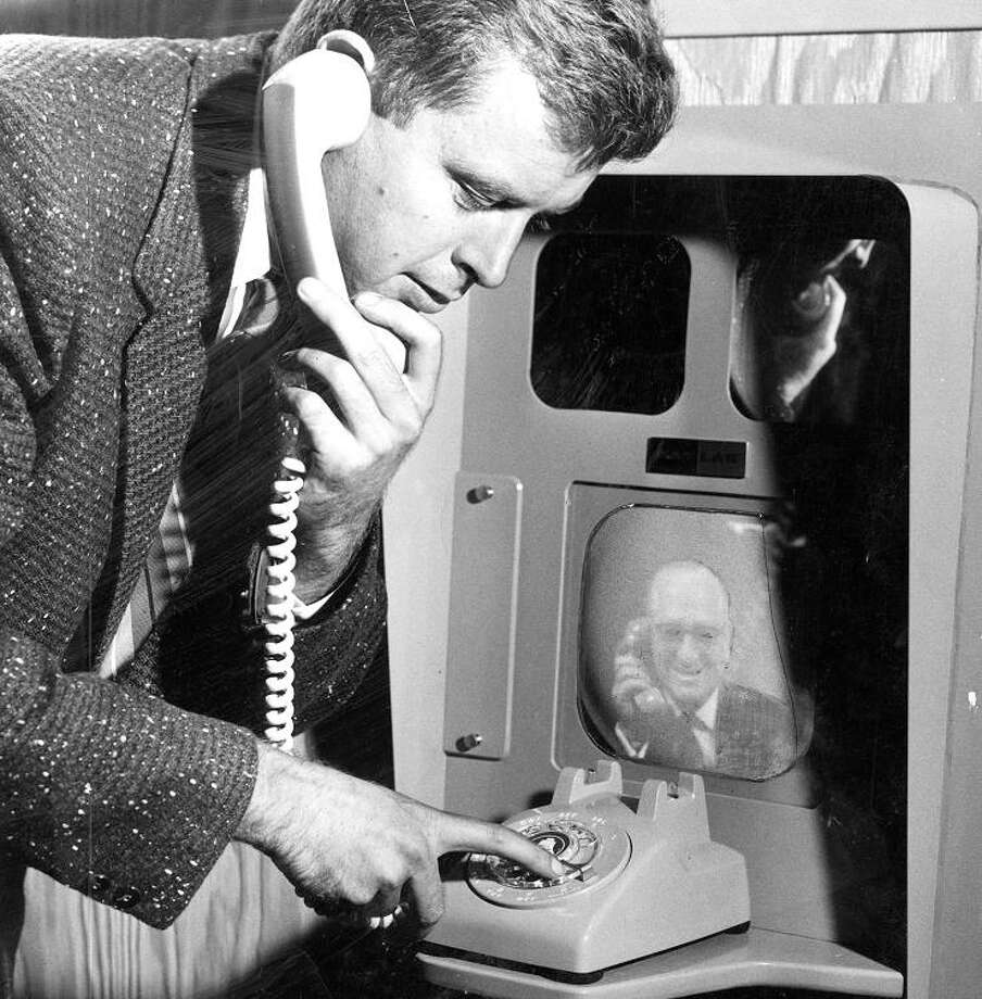 Aug. 24, 1955: Kevin Wallace speaks on a videophone to San Francisco Mayor Elmer Robinson on a videophone. I had no idea videophone technology existed in the 1950s. An even bigger shock? Robinson was a Republican. Photo: Duke Downey, The Chronicle / ONLINE_YES