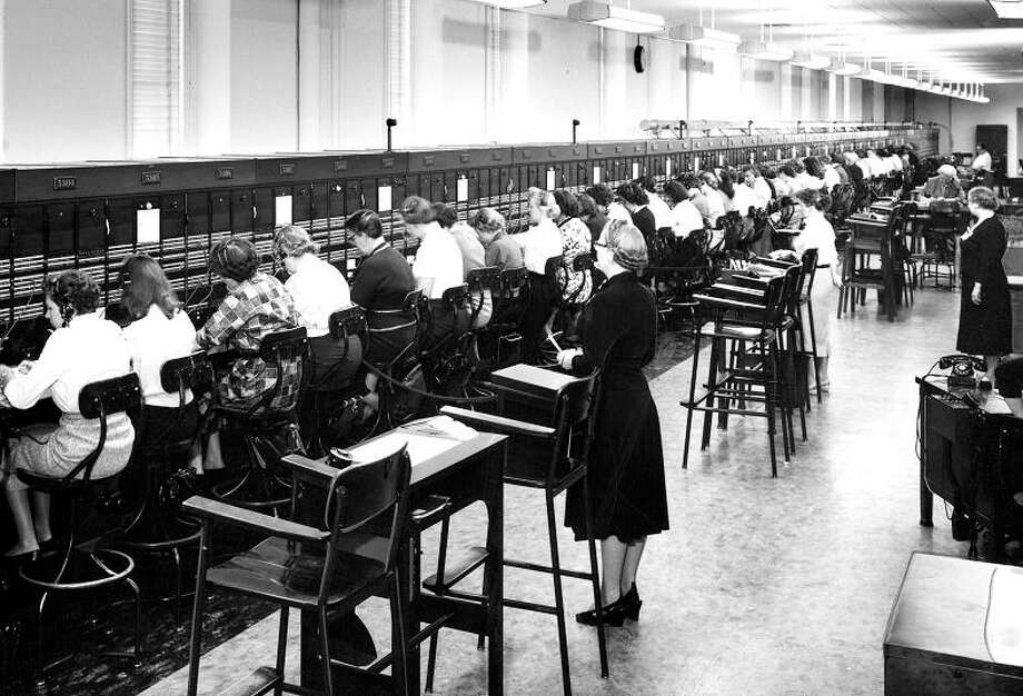 Feb. 16, 1958: The telephone switchboard at the 430 Bush Street long distance center. I\'m getting a bit of a totalitarian sweatshop vibe from this photo. Photo: Gabriel Moulin Studios / ONLINE_YES