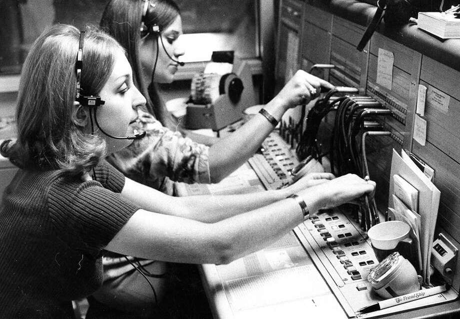 "Oct. 18, 1972: Telephone operators Ann Chappelone and Molly Rissotto in San Francisco\'s phone operations center. This was the last switchboard photo with the Mayberry/""Please connect me to Aunt Bea\""-style cables. Photo: William S. Young, The Chronicle / ONLINE_YES"