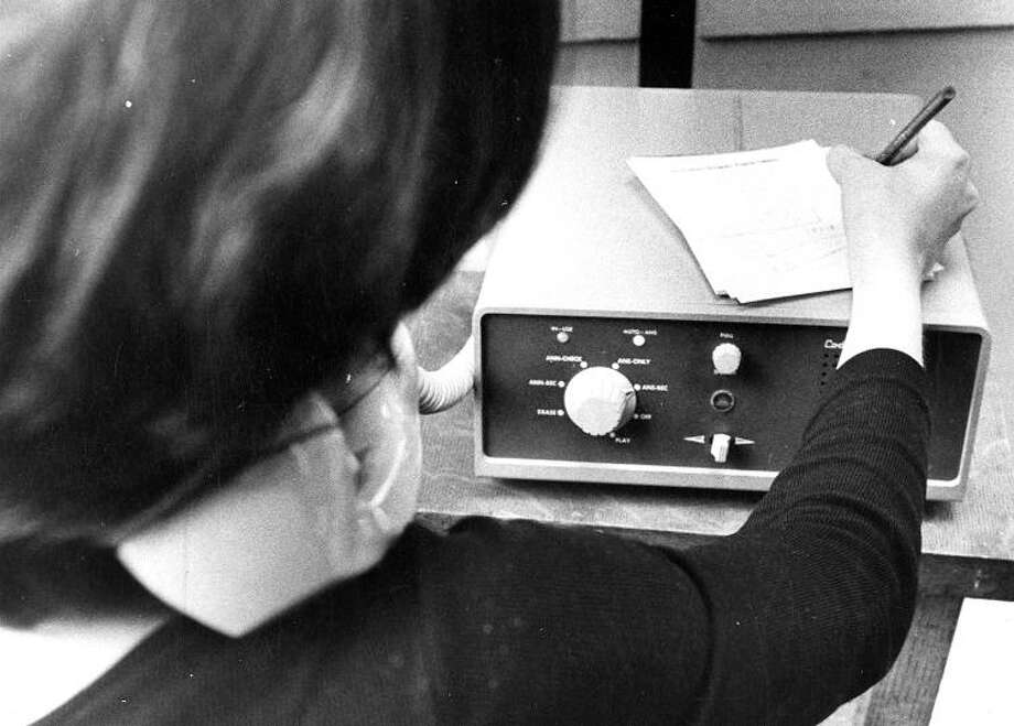 March 11, 1974: This is the Code-a-Phone 700, an early commercial answering machine. It weighed more than 23 lbs, held only a few messages and phone companies rented them out for just a little less than a car payment. Photo: Larry Tiscornia, The Chronicle / ONLINE_YES