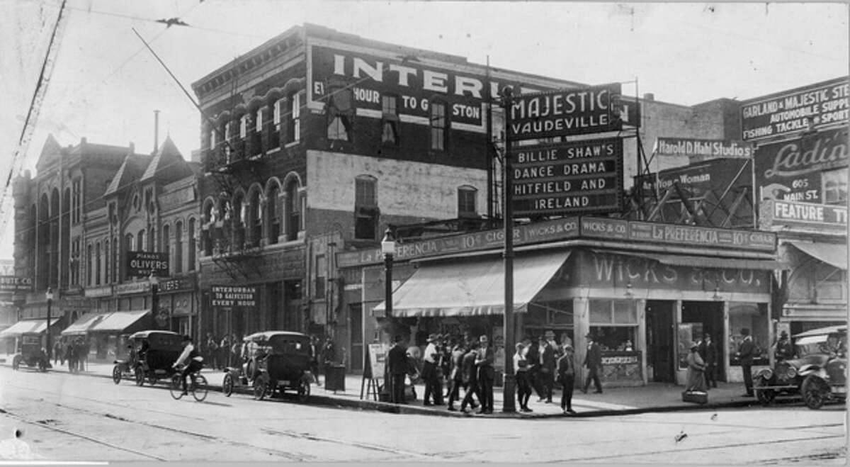 Southeast corner of Main at Texas, about 1915. Note interurban signage at center and left of center.