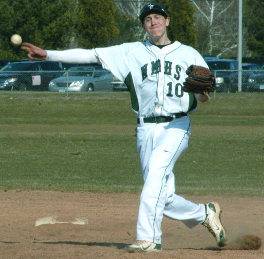 Matt Brew mans the keystone position with aplomb for New Milford High School baseball. April 2013 Photo: Norm Cummings