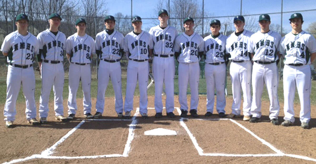 Eleven Green Wave seniors, from left to right, Brodie Casa, Peter Donato, Anthony Dolcomascolo, Dylan Kartchner, Matt Brew, Tyler Smith, Dustin Drucker, Nick Cianciolo, Gordon Newkirk, Matt Sheehy and Teven Leonard form the nucleus of the 2013 New Milford High School baseball team. April 2013