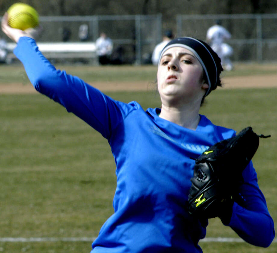 The Green Wave's Emily Willson will patrol centerfield this spring for New Milford High School softball. April 2013 Photo: Norm Cummings