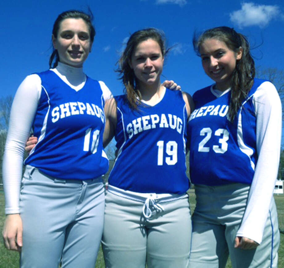 Captaining the Spartans this spring are fellow seniors, from left to right, Kate DeWitte, Bridget McCarthy and Sam Bisignano of  Shepaug Valley High School softball. April 2013 Photo: Norm Cummings
