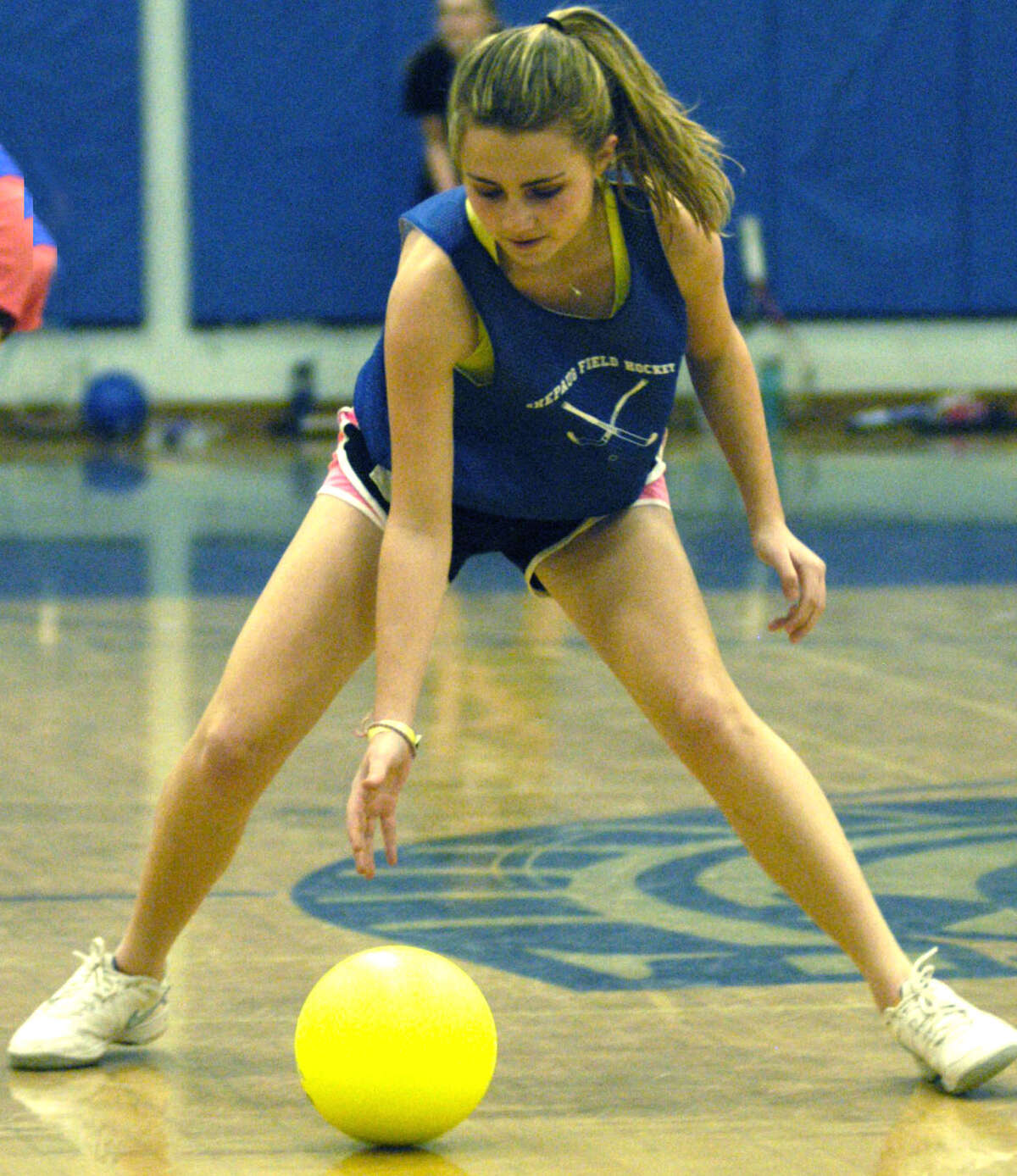 Molly Mercier of the Spartans engages in an agility drill for Shepaug Valley High School girls' tennis. April 2013