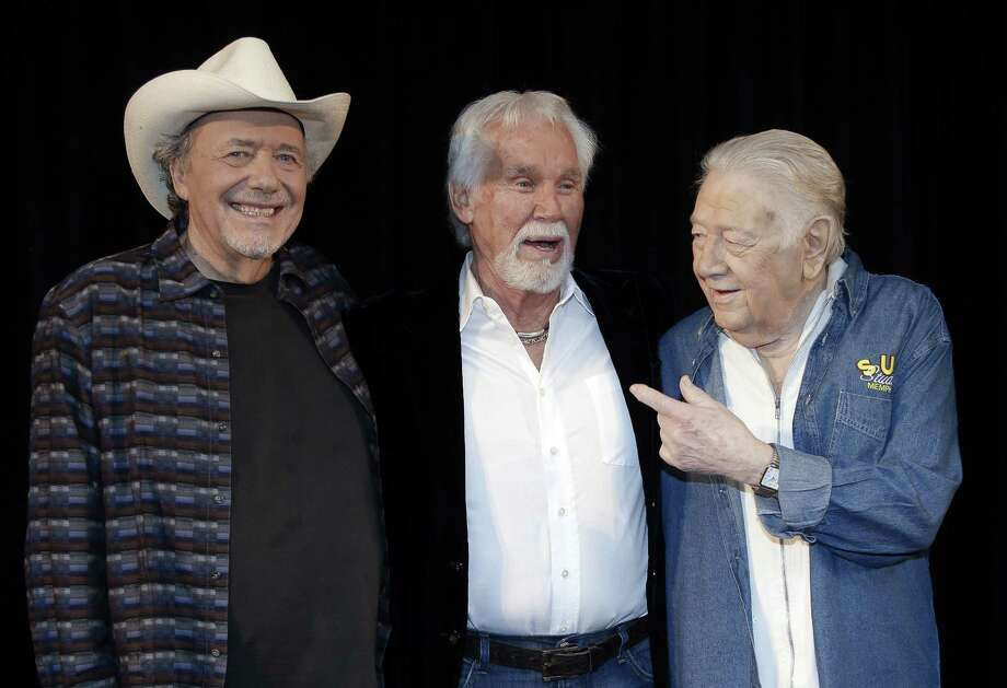 Bobby Bare (from left), Kenny Rogers and Jack Clement will be honored at a ceremony later this year for their induction into the Country Music Hall of Fame. Photo: Mark Humphrey / Associated Press