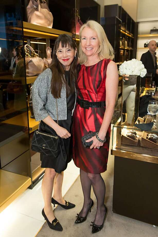 France Szeto and Ann Girar at a benefit to support the installation of The Bay Lights hosted by Gucci on April 09, 2013. Photo: Drew Altizer Photography