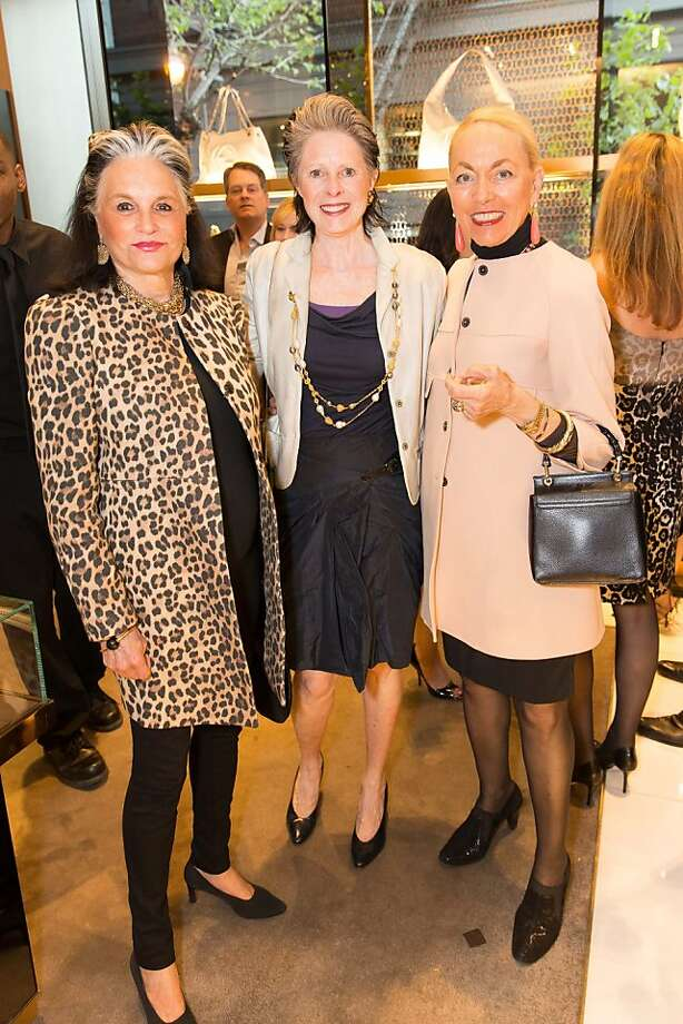 Diane Chapman, Meriwether McGettigan and Adria Bini at a benefit to support the installation of The Bay Lights hosted by Gucci on April 09, 2013. Photo: Drew Altizer Photography