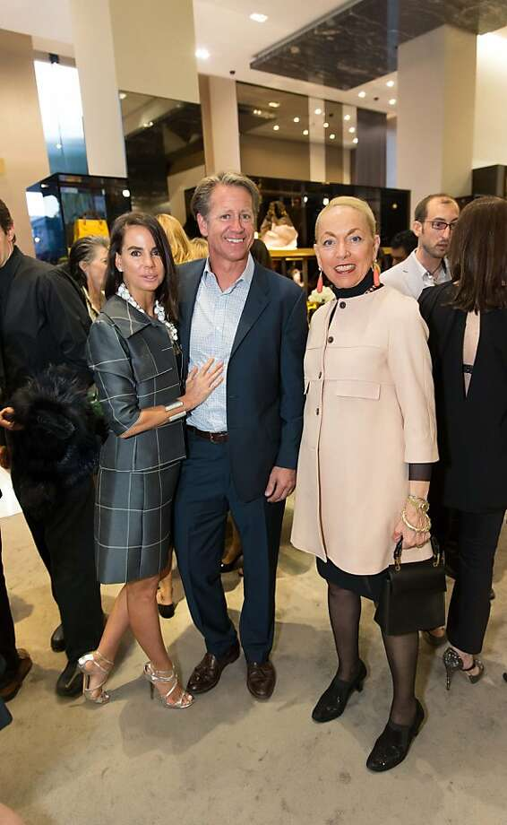 Fruzsina Keehn, Rick Sherry and Adria Bini at a benefit to support the installation of The Bay Lights hosted by Gucci on April 09, 2013. Photo: Drew Altizer Photography