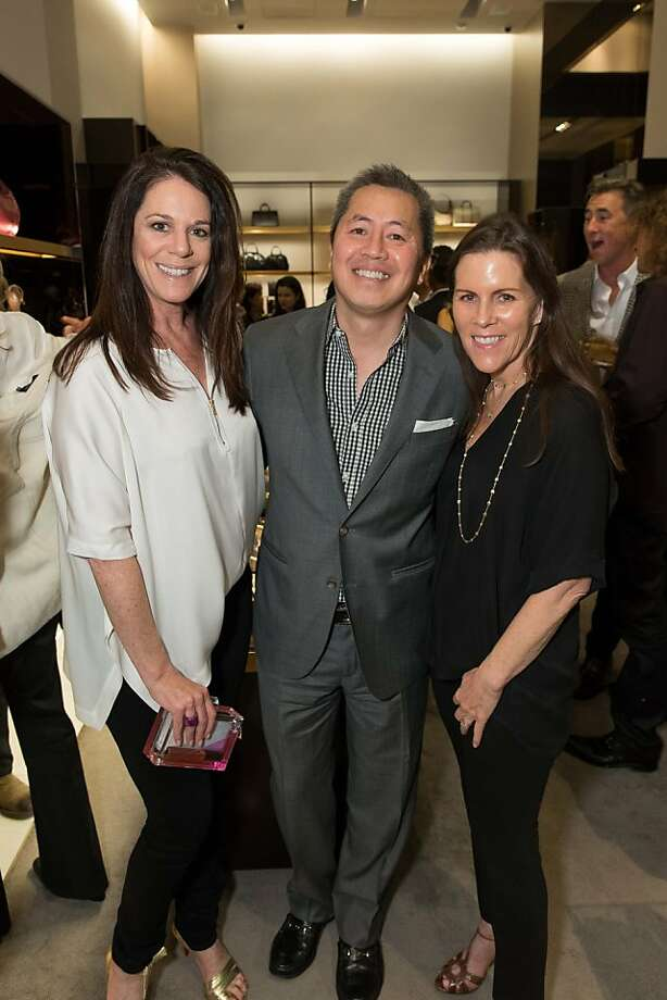 Kim Karp, Benjamin Dhong and Shannon Tolan at a benefit to support the installation of The Bay Lights hosted by Gucci on April 09, 2013. Photo: Drew Altizer Photography
