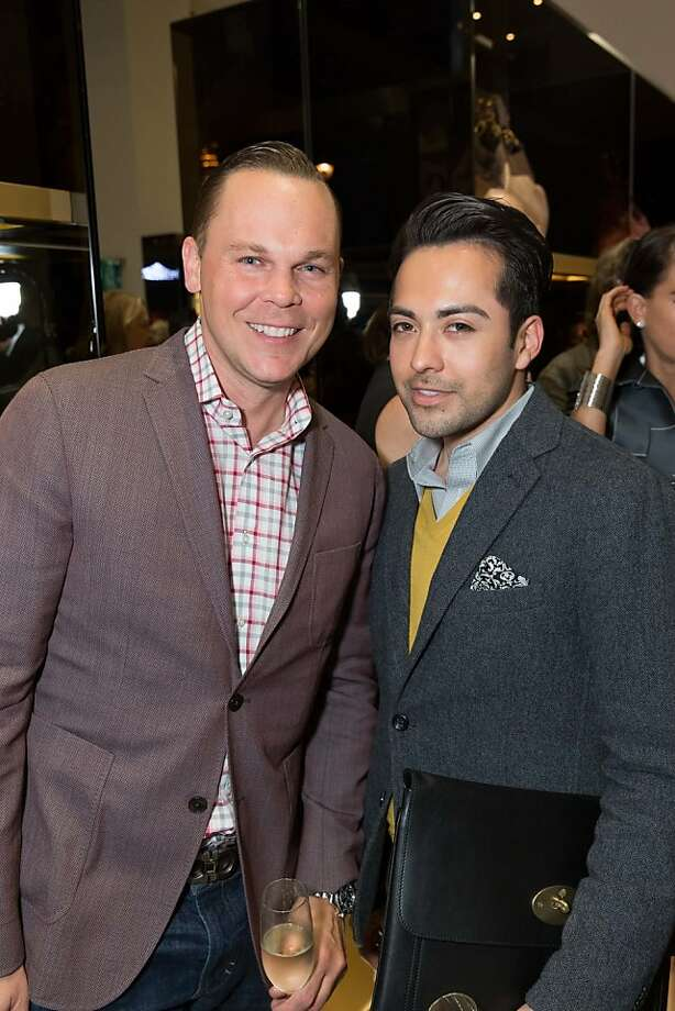 Jason Gorski and Javier Enrique at a benefit to support the installation of The Bay Lights hosted by Gucci on April 09, 2013. Photo: Drew Altizer Photography