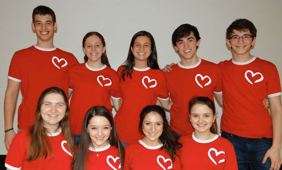 For the Heart, a group of singers from Staples High School, who performed Broadway songs Sunday at the Westport Public Library, include from left, top row: Clay Singer, Cara McNiff, Melissa Beretta, Tyler Jent and Jake Landay; bottom row: Emily Ressler, Grace McDavid-Seidner, Michelle Pauker and Amanda Horowitz. Missing: August Laska. Photo: Mike Lauterborn / Westport News contributed