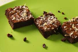 Ginger coconut brownies as seen in San Francisco, California on Wednesday, March 27, 2013. Food styled by Lynne Char Bennett.