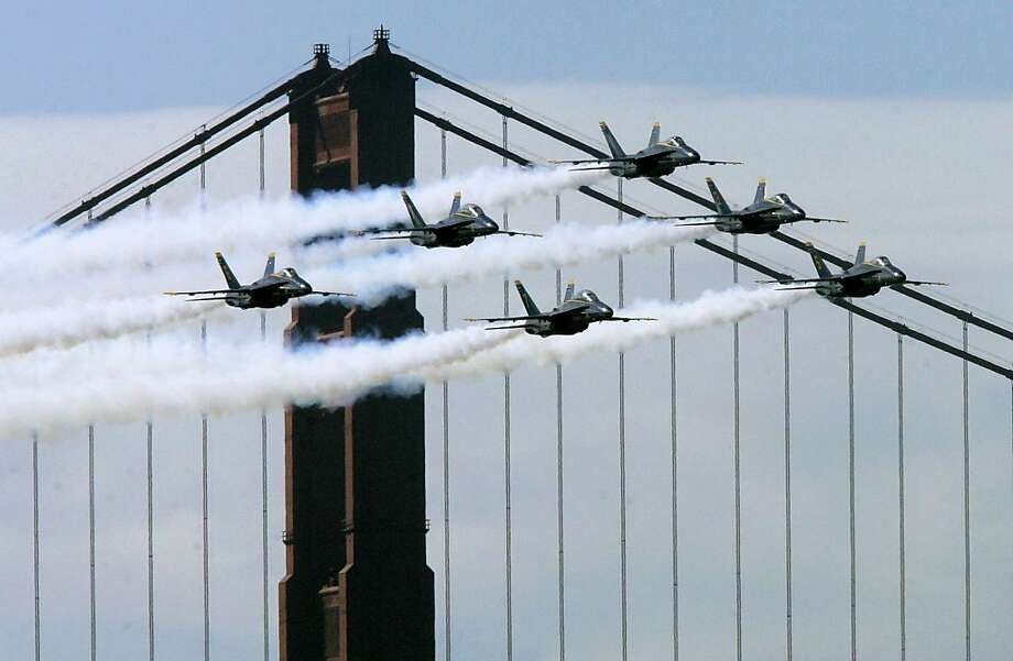 Blue Angels jets fly past the Golden Gate Bridge during practice in 2007. The Navy flying team, and accompanying noise, will return next October. Photo: Jeff Chiu, Associated Press