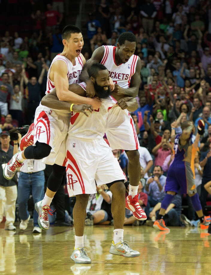 April 9: Rockets 101, Suns 98 The Rockets came away with a win against the Suns after James Harden's last second 3-pointer was counted due to goaltending by Suns center Jermaine O'Neal. Record: 44-34. Photo: Smiley N. Pool, Houston Chronicle / © 2013  Houston Chronicle