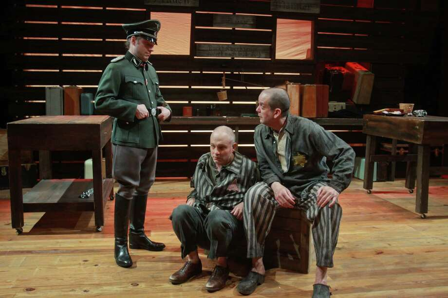 """Classical Theatre Company's concept treatment of """"The Merchant of Venice"""" changes the setting to Auschwitz and its primary characters to two prisoners. The production stars Matthew Kennan, from left, Philip Lehl and Thomas Prior. Photo: Gary Fountain, Freelance / Copyright 2013 Gary Fountain"""