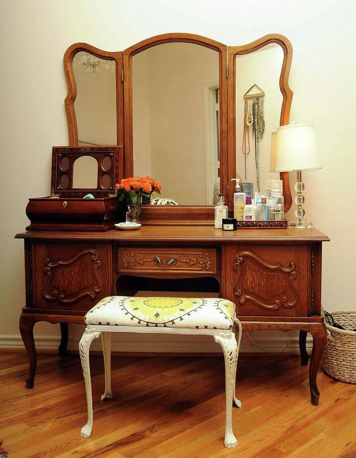 The vanity at Lindsey Brown's home in the Franklin Lofts. Photo: Dave Rossman, Freelance / © 2013 Dave Rossman
