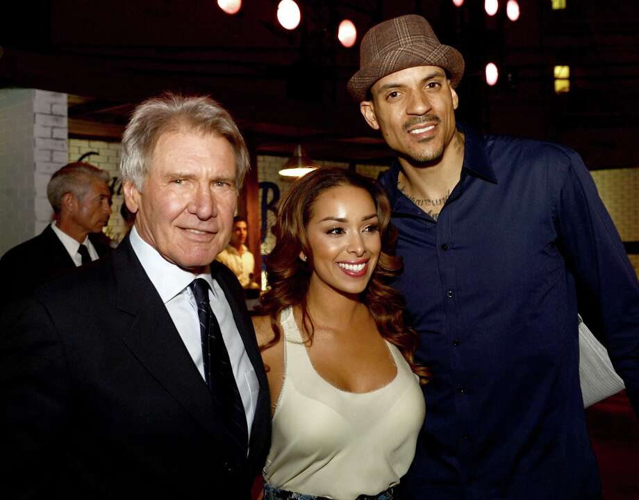 "(L-R) Actor Harrison Ford, Gloria Govan and L.A. Clippers basketball player Matt Barnes pose at the after party for the premiere of Warner Bros. Pictures\' and Legendary Pictures\' ""42\"" at the Chinese Theatre on April 9, 2013 in Los Angeles, California. Photo: Kevin Winter, Getty Images / 2013 Getty Images"