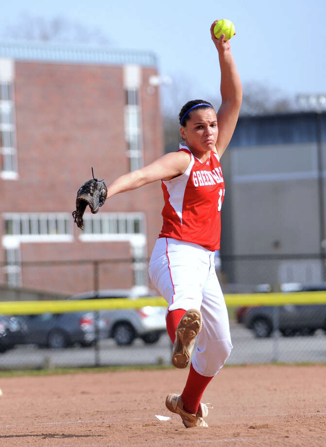 Greenwich pitcher Alison Kach in action during the girls high school softball game between Greenwich High School and Stamford High School at Greenwich, Wednesday, April 10, 2013. Greenwich won the game 7-5 to remain unbeaten. Photo: Bob Luckey / Greenwich Time