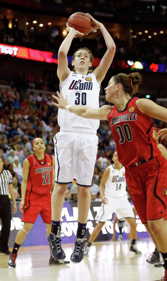 NEW ORLEANS, LA - APRIL 09: Breanna Stewart #30 of the Connecticut Huskies shoots against Sara Hammond #00 of the Louisville Cardinals in the first half during the 2013 NCAA Women's Final Four Championship at New Orleans Arena on April 9, 2013 in New Orleans, Louisiana.  (Photo by Chris Graythen/Getty Images) Photo: Chris Graythen, Getty Images / 2013 Getty Images