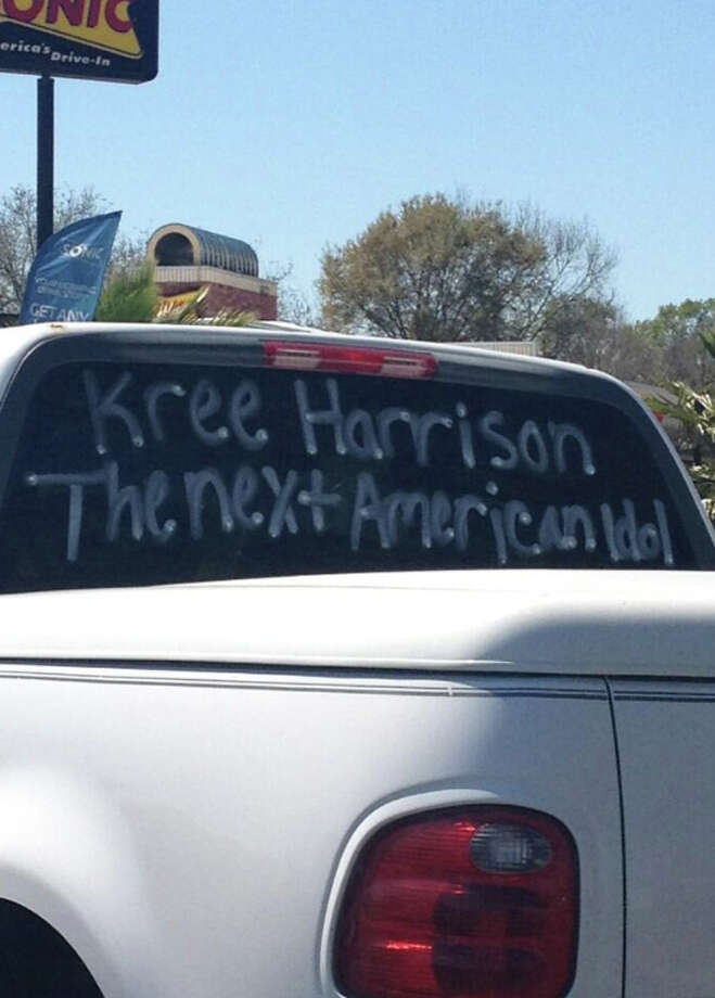 Southeast Texas fans are posting signs of support for American Idol's Kree Harrison. Kree lives in Nashville now, but still considers Woodville her home. Photo courtesy of Laci Bruce