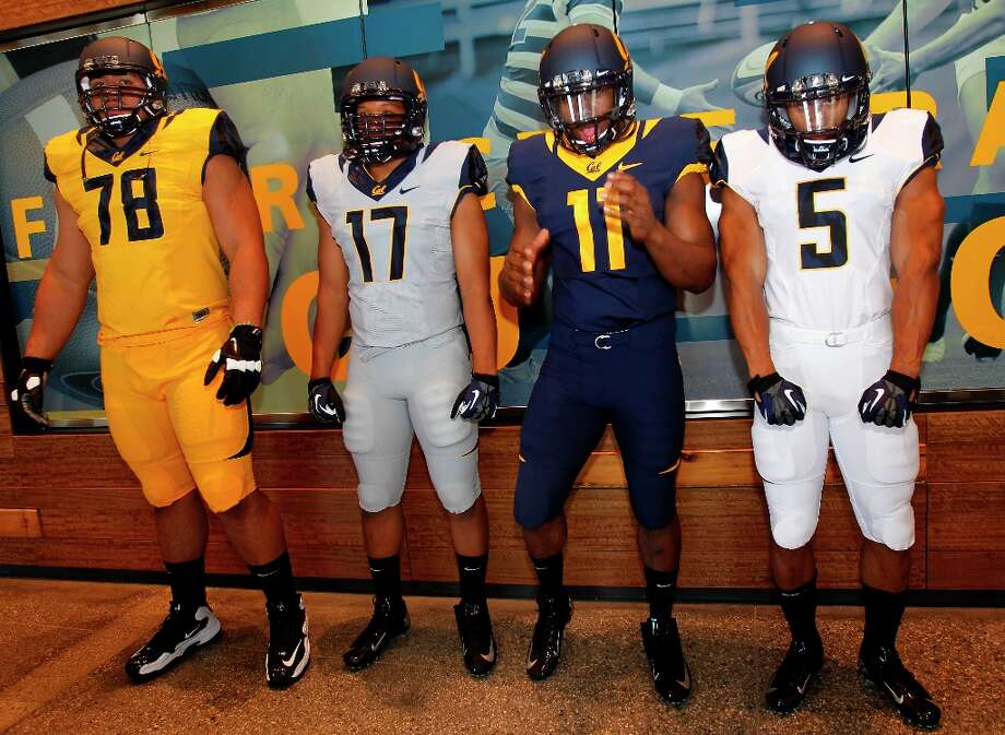 Get a glimpse of some of Berkeley's other athletes. Click through this slideshow for a look at Cal athletic uniforms through the years.Members of the football team showed off their new uniforms. The University of California Athletic department unveiled its new uniforms Wednesday April 10, 2013 in Berkeley, Calif.  The new uniforms and visual identity was designed with Nike. Photo: Brant Ward, The Chronicle / ONLINE_YES