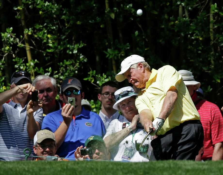 Jack Nicklaus tees off on the third hole during the par three competition before the Masters golf tournament Wednesday, April 10, 2013, in Augusta, Ga. (AP Photo/Matt Slocum) Photo: Matt Slocum, Associated Press / AP