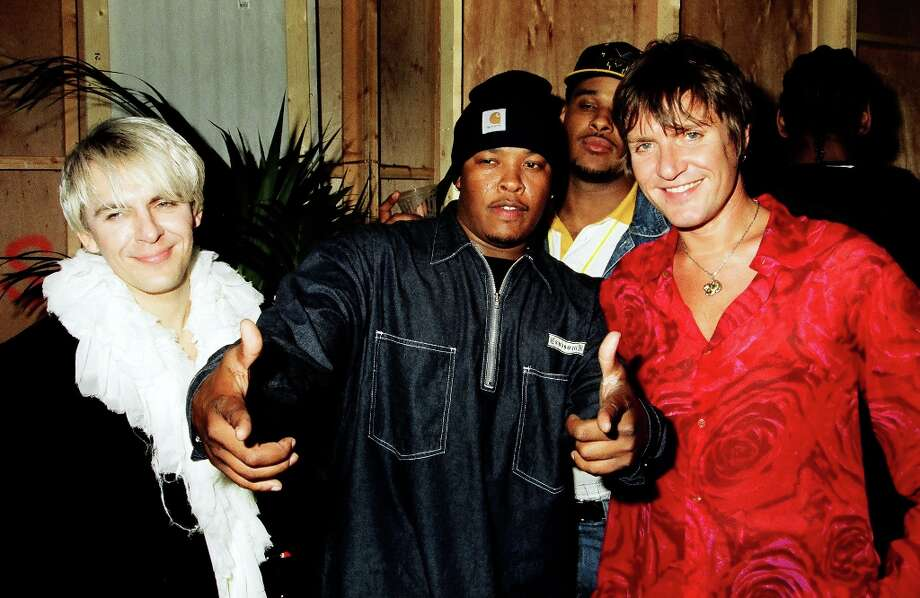 Dr Dre and Simon LeBon during 1993 MTV Movie Awards at Sony Studios in Culver City, California, United States. (Photo by Jeff Kravitz/FilmMagic, Inc) Photo: Jeff Kravitz, FilmMagic, Inc / e-mail sales@filmmagic.com to license FilmMagic images.
