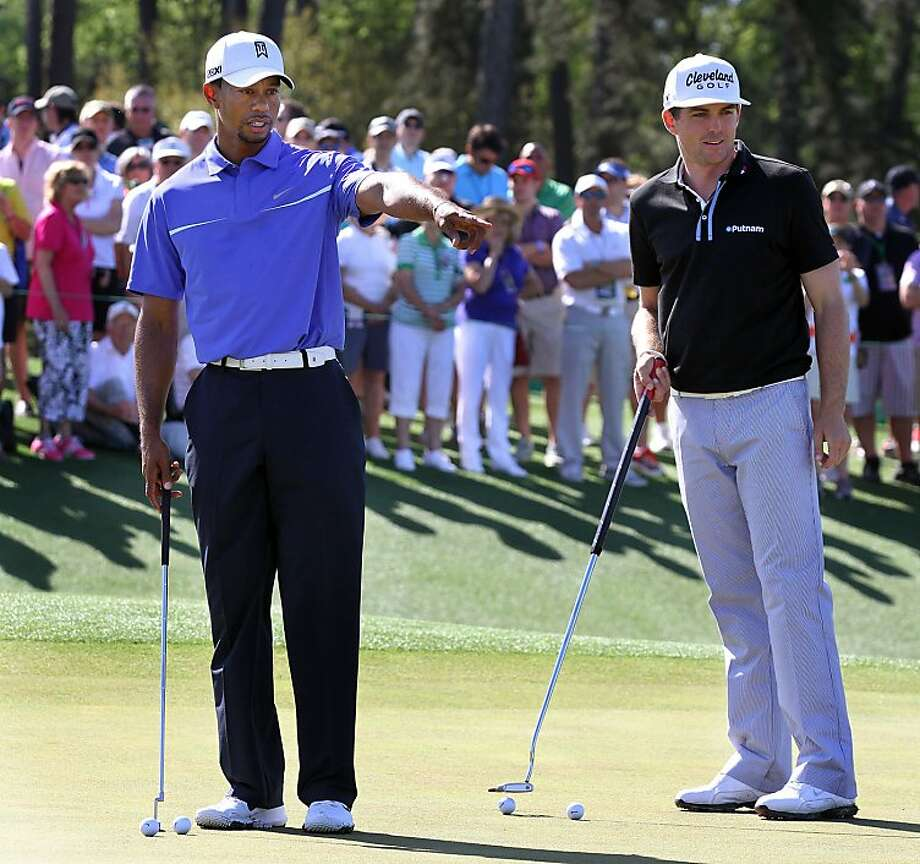 Tiger Woods and Keegan Bradley spent time on putting during their practice round - a much-needed skill at Augusta. Photo: Phil Skinner, McClatchy-Tribune News Service