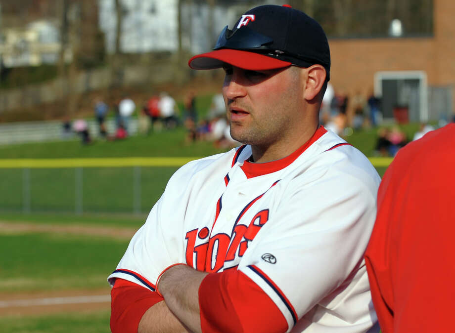 Foran Head Coach Garret Walker, during baseball action against Jonathan Law in Milford, Conn. on Wednesday April 10, 2013. Photo: Christian Abraham / Connecticut Post