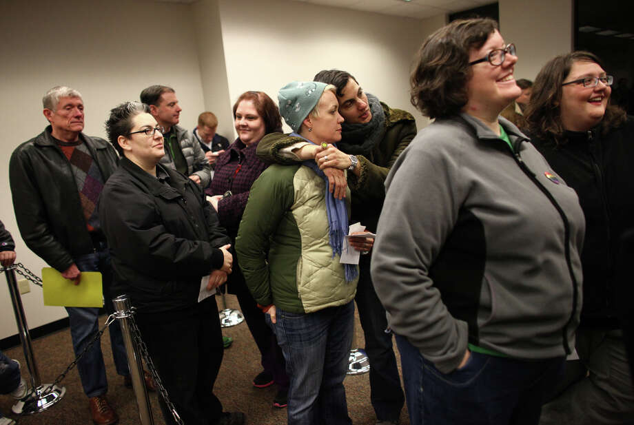 Same-sex couples wait for marriage licenses at the King County Administration Building. Photo: JOSHUA TRUJILLO, SEATTLEPI.COM / SEATTLEPI.COM