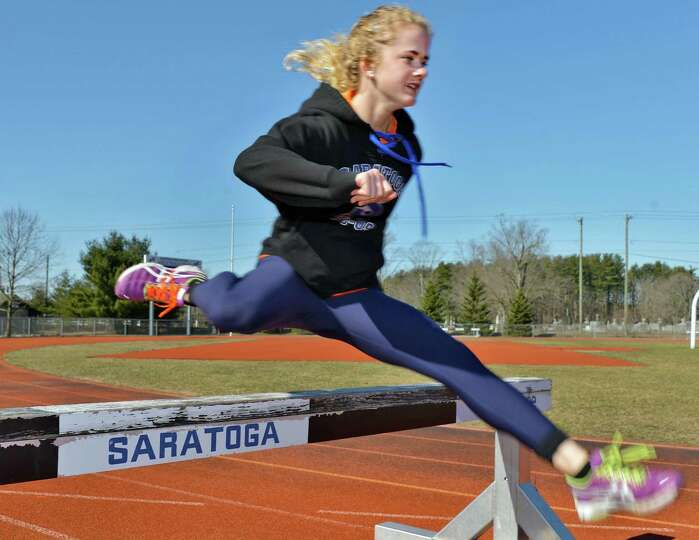 Keelin Hollowood during track practice at Saratoga Springs High School Thursday April , 2013.  4(Joh