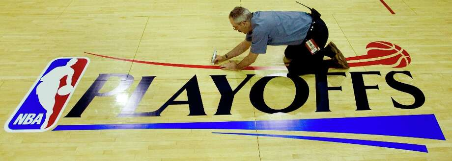 The NBA playoffs logo will soon be back on the Toyota Center floor. Seven of the eight teams are set for the NBA's Western Conference but the seedings could go down to the last game of the season. As the Pacific Division champion, the Clippers can be no worse than fourth. A look at the seven who are in and the two contenders with current record, best possible seed and worst possible seed. Photo: Brett Coomer / © 2009 Houston Chronicle