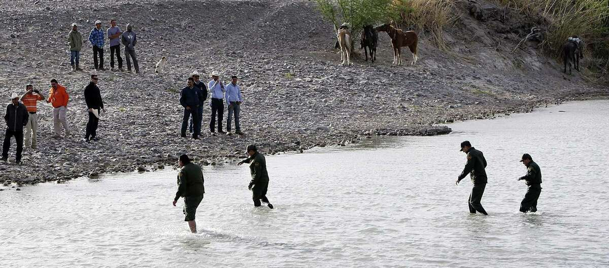 Border Patrol agents cross the Rio Grande from Big Bend National Park to Mexico.