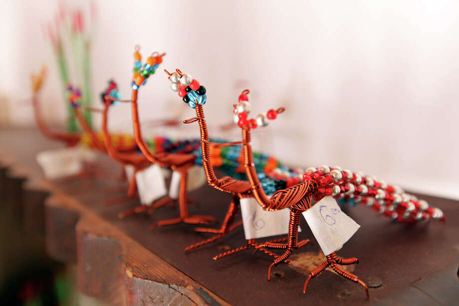 Roadrunners made of twisted copper wire for sale Wednesday April 10, 2013 in Boquillas del Carmen, Mexico. Photo: Edward A. Ornelas, San Antonio Express-News / © 2013 San Antonio Express-News