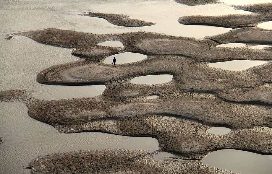 Contaminated waters: A lone man walks along the riverbed of the Hanjiang River during its dry season in Shiyan, China. China's coastal waters are suffering acute pollution, with the worst affected areas growing in size by more than 50 percent last year, according to Chinese officials. Photo: Afp, AFP/Getty Images